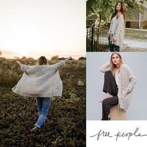 Free People Boucle slouch snap front cardigan